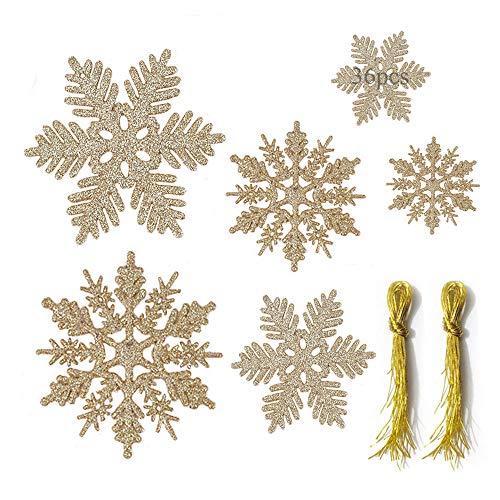 Anyingkai 36 Stück Schneeflocken Deko, Weihnachtsbaumschmuck Schneeflocken, Schneeflocke Deko, Schneeflocken zum Aufhängen, Schneeflocken Hängend, Glitter Weihnachtsbaum (Golden-B)