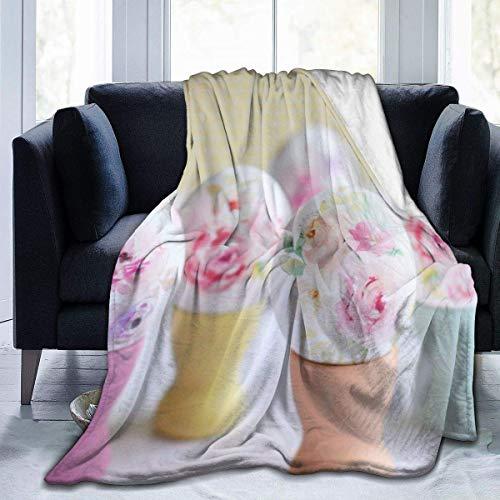 Searster$ Fleece Blanket Huevos de Rosa Manta de Lana Completa Franela mullida edredón Dormitorio Ropa de Cama decoración Suave acogedor-6g-1m