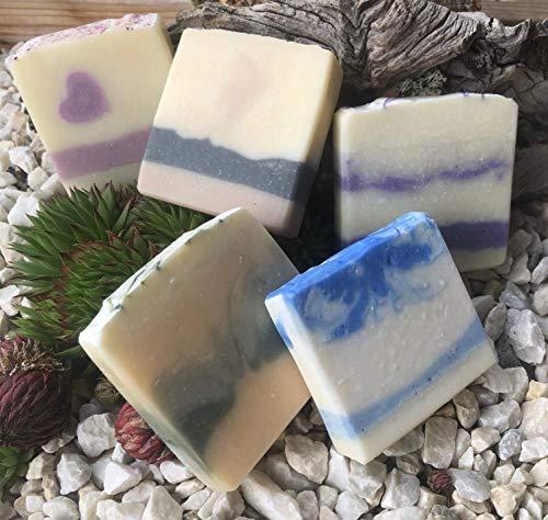 Naturseifen 5er-Set - 5 Stück handgemachte Rosen-, Lavendel-, Zitronen-, Kokos- und Männer-Seife aus natürlichen Rohstoffen