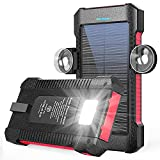 Solar Power Bank 26800mAh, Solar Charger Portable Battery Pack Dual USB Outputs, Powered Charger with LED Camping Light/Carabiner/Suction Cup Mount, Waterproof Solar Panel Charging (Red)