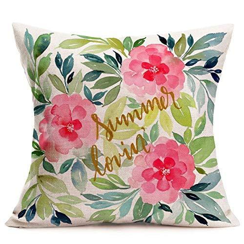 Funda de almohada decorativa de color verde con diseño de flores de acuarela y hojas veraniegas, para decoración de interiores y exteriores, de algodón y lino cuadrado (verano amoroso), 45,7 x 45,7 cm