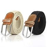 2 Piezas Cinturón Trenzado Elástico de Mujer Cinturones Hombre Elásticos Tejidos para Jeans Pantalones (Negro y Beige)
