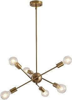 Xilicon Brushed Brass Sputnik Chandelier Modern Light Fixture Sputnik Lighting Metal Semi Flush Mount Ceiling Light Mid Century Chandelier 6 Lights for Dinning Room Living Room