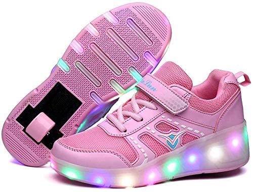 liangh Mode LED Rolle Schuhe,Atmungs Kinder Einrad Schuh,Einziehbare Einrad Schuhe,Draussen Turnschuhe,Rosa-EU30,Pink-EU33