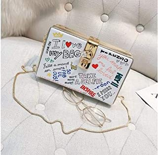 iBag's Popular Letter Graffiti Box Design Female Pu Leather Women's Party Clutch Bag Shoulder Bag Handbag Crossbody Messenger Bag Flap