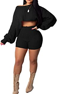 Women's Sexy Lace Up Long Sleeve Crop Top Bodycon Skirt 2 Piece Dress