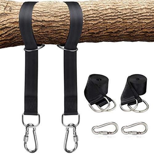 YSHTAN Swing Strap Outdoor Tools Strap Boom Swing Hanging Straps Kit Veiligheidsslot Gesp Karabijnhaken voor Bandenhangmat - Zwart