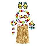 Fiesta Hawaiana,Fiesta Hawaiana Decoracion, Fiesta Luau,Fiesta de Hula,Faldas de Hierba para Adultos,Falda de Traje Hawaiano,Guirnalda Hawaiana,8 Piezas Juego Gafas Hawaianas, Sujetador de Flores