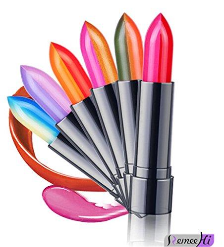Remeehi Zweifarbiger Lippenstift, Farbwechsel, lange Lebensdauer. A - Set mit 6 Farben