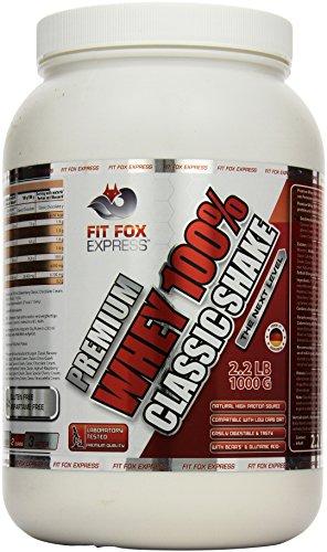 Fit Fox Express Premium Whey 100% Protein (Eiweißshake, Molkenprotein mit Dosierlöffel) Classic Banana Cream, 1er Pack (1 x 1 kg), 1000 g Dose