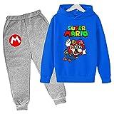 Aatensou Super Mario Bros Sudadera con capucha y pantalones de chándal 3D para niño con estampado de dibujos animados (Marario 6,160)