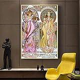 HBGLX Alphonse Mucha Retro Mujer Arte Diy 5D Pintura Diamante Hecho a Mano Diamante Punto Cruz Set Diamante Mosaico Bordado Decoración Diy Decoración 40X50Cm