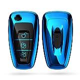 kwmobile Funda para Mando Compatible con Ford Llave de Coche Plegable de 3 Botones - Funda TPU Llave con Botones de Llave de Auto - Azul Brillante