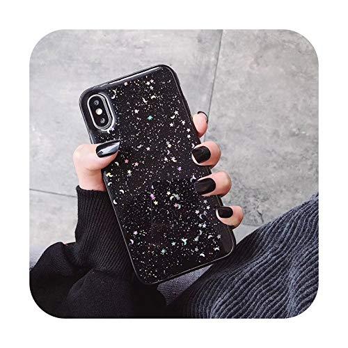 BSbattle Funda de teléfono con purpurina para iPhone 11 12 Mini Pro XS Max XR X 6 S 7 8 Plus Love Heart Star Lentejuelas suave Bling Clear Cover Capa-4098B-para iPhone 8 Plus