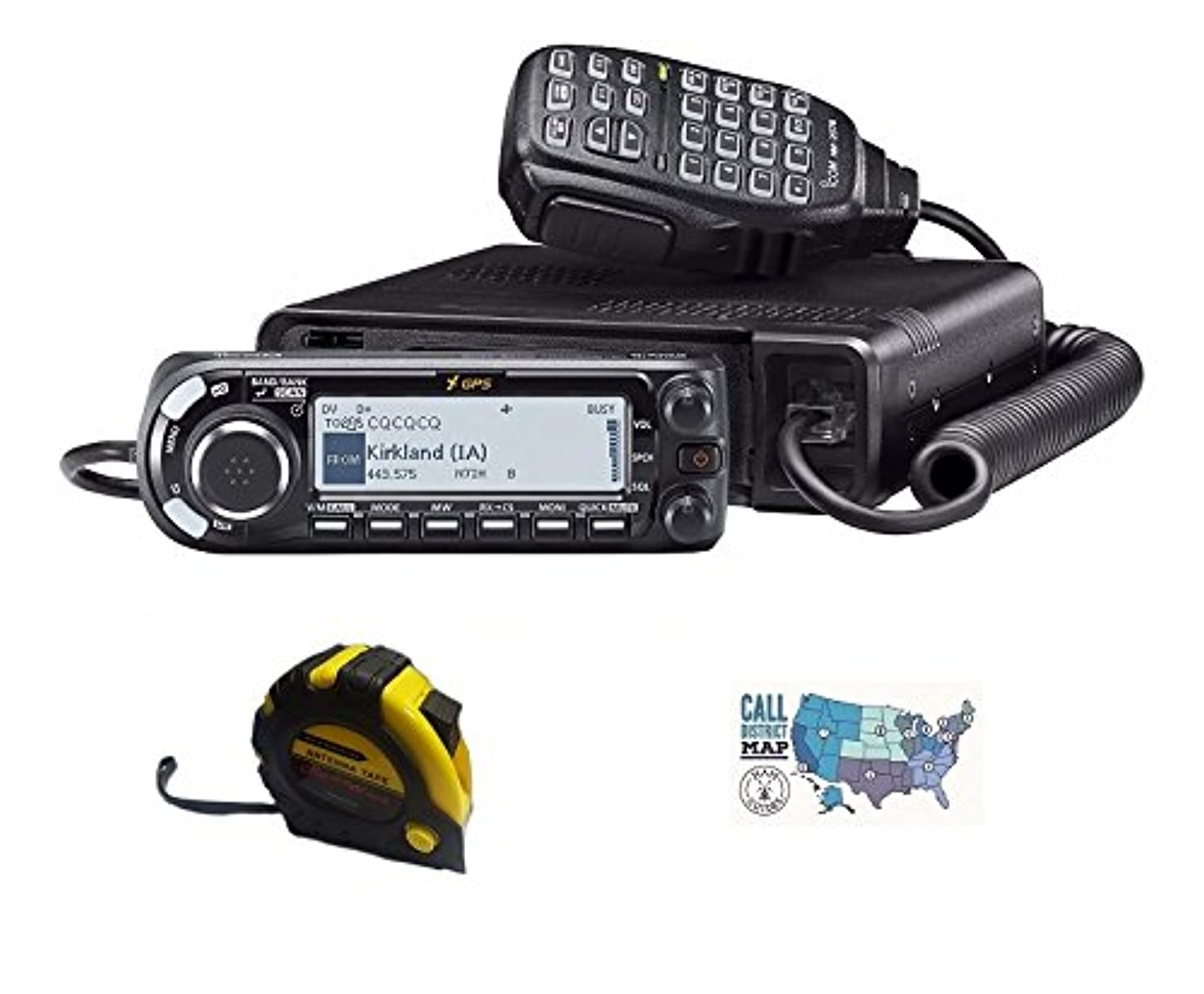 Bundle - 3 Items - Includes Icom ID-4100A 50W VHF/UHF Dual Band D-Star Transceiver with The New Radiowavz Antenna Tape (2m - 30m) and HAM Guides Quick Reference Card