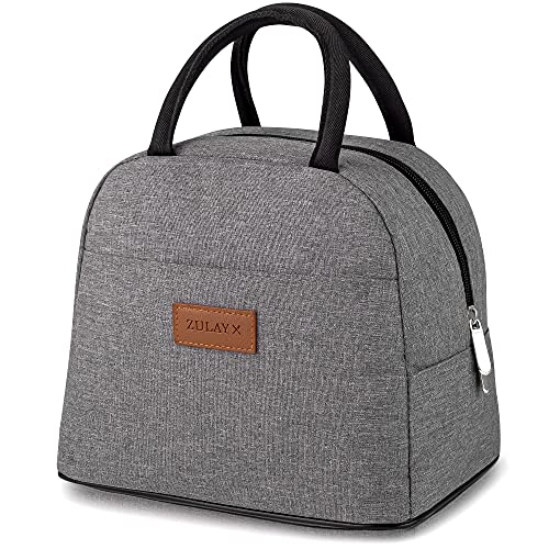 Zulay Insulated Lunch Box For Women - Tote Lunch Bag Women Insulated With Soft Padded Handles - Cute Lunch Bags For Women, Teens, Men - Ideal For Work, School, Picnics (Gray)