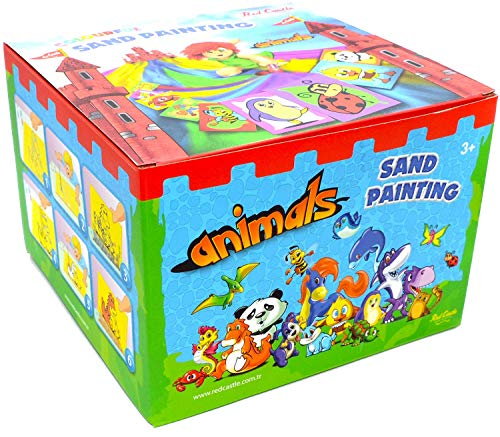 Red Castle The Most Famous Sand Art Kits for Kids in All Europe Sand Painting Art Kits, Colored Sand Painting, DIY Learning Craft Kit, 15 Colored Sand Tubes & 2 Painting Cards (All Animals Together)
