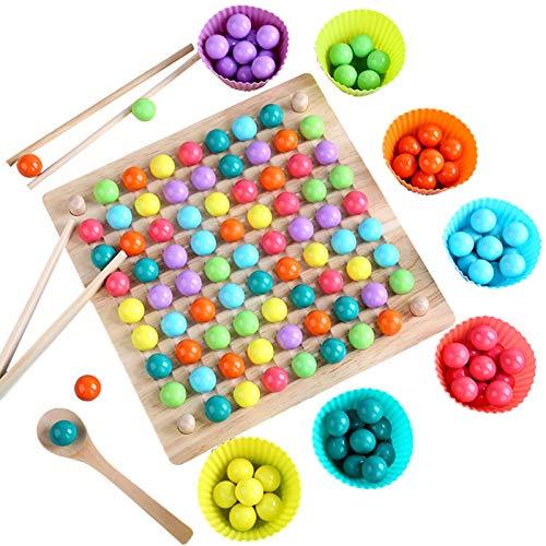 Holz Clip Beads Brettspiel,Montessori Pädagogisches Holzspielzeug - Clip Perlen Spiel Puzzle Board - Holz Clip Perlen Regenbogen Spielzeug - Matching Game Memory Toy - Puzzle Brettspiel -22×22×4cm…