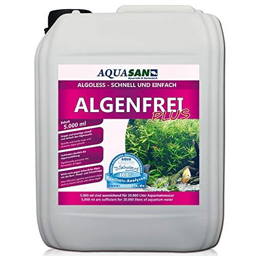 AQUASAN Aquarium ALGOLESS Algenfrei Plus (Aquarium Algenvernichter, Algenentferner - Gegen nahezu alle Algen - Bartalgen, Pinselalgen, Schmieralgen), Inhalt:5 Liter