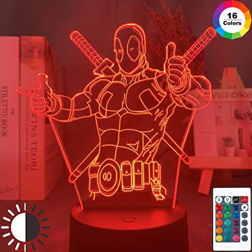 Marvel Deadpool Figura Boyfriend Night Light 3D LED Lámpara de mesa regalo de cumpleaños para niños decoración de la habitación junto a la cama
