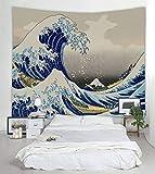 UHUSE Tapiz colgante de pared azul océano gran ola Kanagawa Big Tsunami náutico patrón de decoración de recámara tapices, The Great Wave Off Kanagawa, 59*79 inches