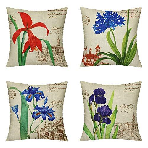 farg 4-Piece Cotton Linen Home Pillowcase Nordic Plant Floral Vintage Sofa Cushion Cover ES