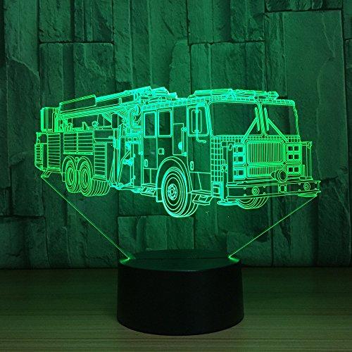 3D Veilleuse Camion De Pompiers Lumière De Nuit Acrylique Lampe De Chevet Avec 7 Couleurs Décoration De Chambre Led Lampe Pour Chambre De Bébé Enfant Cadeau De Noël Fête Anniversaire