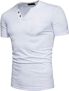 nanzhushangmao Mens Casual Short Sleeve T-Shirt Hippie Hip hop V-Neck Lace-Up Long Sleeve Tops