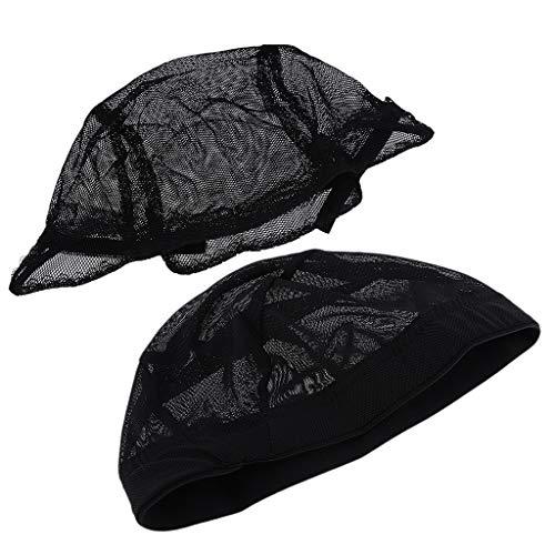 perfeclan 2x Filet De Costume Respirant Noir De Chapeau De Maille Faisant La Perruque Accessoire De Filet à Cheveux De Snood