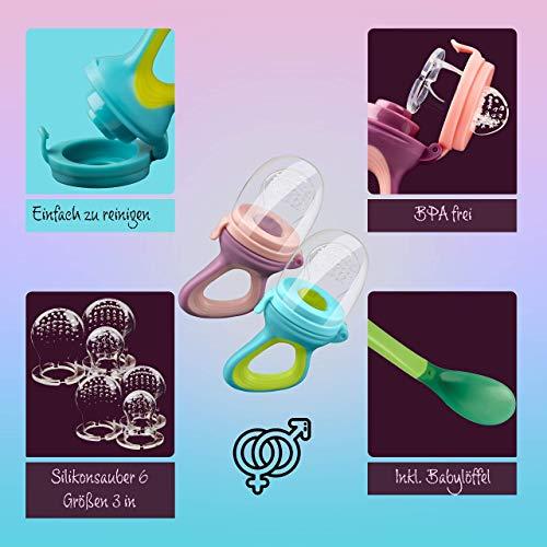 2 Fruchtsauger Baby + 1 Baybylöffel für Baby ab 3 Monate & Kleinkind + Zertifikat + 6 Silikon-Sauger in 3 Größen – BPA-frei – Schnuller Beißring für Obst Gemüse Brei Beikost + Gratis Ebook - 2