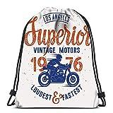 BOUIA Mochilas con cordón Mochila Moto Rider Hecho a Mano Cafe Racer Mochilas de Viaje Mochila Escolar Tote