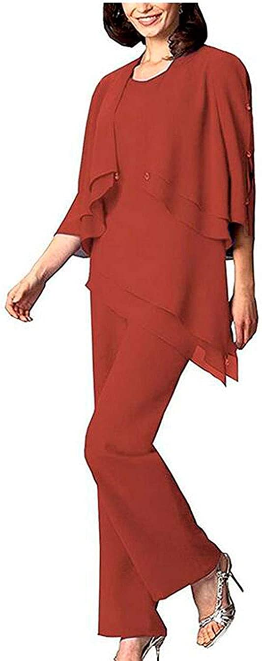3 PC Chiffon Mother of The Bride Pants Suit Tiered Women Outfits Evening Dress Suit Wedding Dress Sets