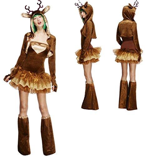 NET TOYS Travestimento da Renna Sexy Costume di Natale per Donna S 40/42 - Vestito Natalizio da Alce Abito di Natale Cervo Outfit Natalizio da Renna Completo di Carnevale e Natale