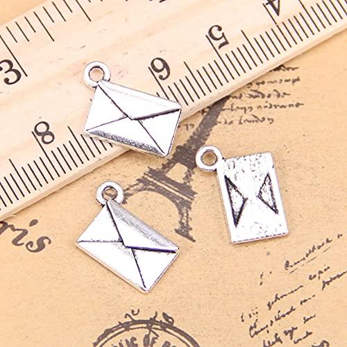 WANM 20 Pièces Charme Lettre Enveloppe 15X11Mm Pendentif Antique Vintage Tibétain Bijoux en Argent Bricolage pour Bracelet Collier