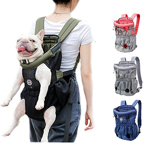 DuoLmi Pet Carrier Backpack, Adjustable Pet Front Cat Dog Carrier Backpack Travel Bag, Legs Out, Easy-Fit for Traveling Hiking Camping for Medium Dogs Cats Puppies (Below 22lb), ArmyGreen