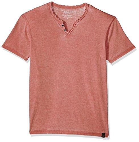 Lucky Brand Men's Venice Burnout Notch Neck Tee Shirt, Cowhide, Medium
