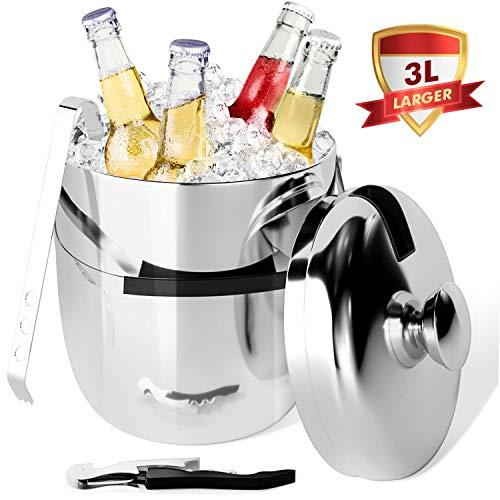 Peradix Cubitera con Pinzas,de Acero Inoxidable Cubo de Hielo Incluye Aislamiento de Doble Pared Cubitera con Pinzas,3 L Conveniente para el champan Que se refresca,Cerveza refrigerada