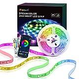 TV LED con luz de TV LED RGB alimentada por USB 5M-Maxuni, con micrófono incorporado, para TV de 32-65 pulgadas, cinturón de iluminación de sincronización de música USB, con Bluetooth y control remoto