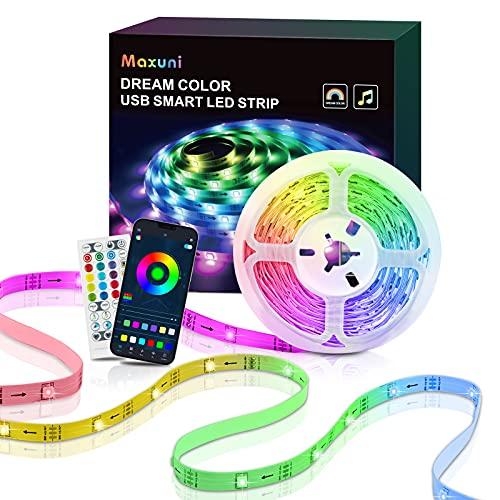 LED TV Retroilluminazione, Maxuni 3M Striscia LED USB Musica Sync con controllo da APP, Multicolor 16 Colori e 8 Modalità, Luci LED per TV 32-60 Pollici, PC Monitore e Camera da Letto 5V 1A
