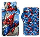 Jujak Marvel Spiderman Parure de lit simple avec drap-housse 100 %...