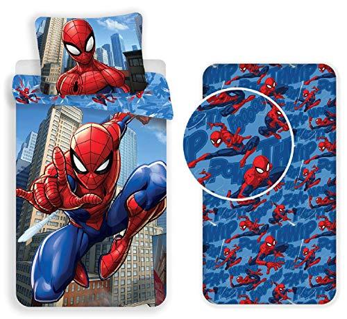 Jujak Marvel Spiderman - Juego de funda nórdica y funda de almohada (100% algodón), diseño de Spiderman, 100% algodón algodón, diseño 1, 140 x 200 cm