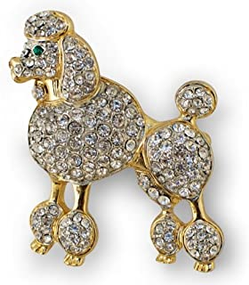 Poodle Austrian Crystal Jeweled Enamel Brooch Pin