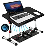 Adjustable Laptop Bed Table, Portable Standing Laptop Desk with USB Fan, Foldable Laptop Table for Working/Reading/Eating on Sofa Floor.(Medium/Black)