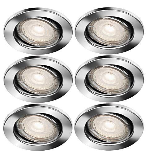 Trango Conjunto de 6 Foco LED empotrado en cromo redondo TG6729-068MOCOBSD con bombilla de módulo LED ultraplano de 3 niveles regulable 3000K blanco cálido, luz empotrada, luz de techo, luz de techo