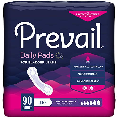 Prevail Incontinence Bladder Control Pads, Ultimate Absorbency, Long, 90 Count