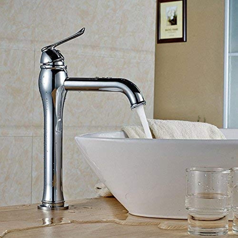 GNXIA Home Waschbecken-Mischbatterie Badezimmer-Küche-Becken-Hahn auslaufsicher speichern Wasser Kupfer verchromt hohe einzelne Loch heie und kalte Küche