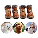 CMNNQ Snow Small Dog Boots, Pet Antiskid Dog Shoes, Winter Waterproof Skidproof Paw Protectors, Warm Booties for Puppy Play (L, Brown)