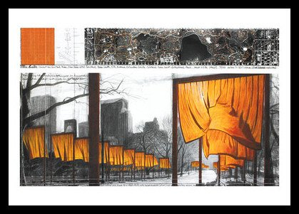 Christo The Gates XXI Poster Bild Kunstdruck im Alu Rahmen in schwarz 70x100cm