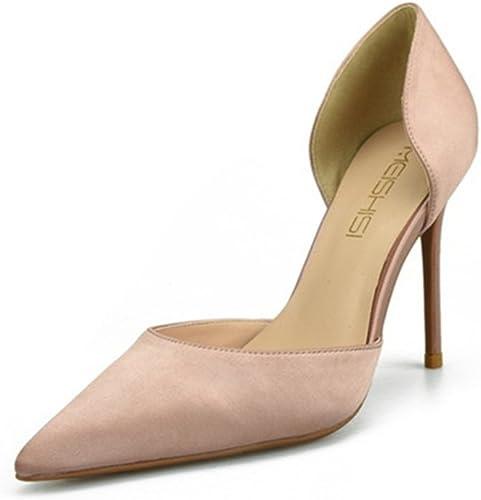HN chaussures Escarpins Femmes Chaussures Stiletto Talon Talon Talon 10 CM Aiguille Nude Satin Fête Grande Taille 35-45 011