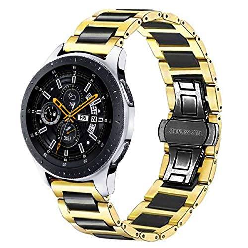 DEALELE Correa compatible con Samsung Gear S3 Frontier/Classic/Galaxy Watch 3 45 mm/Galaxy Watch 46 mm/Huawei GT2 46 mm, 22 mm de acero inoxidable pulsera de repuesto de metal dorado negro
